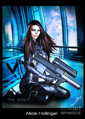 Sci-fi Brunette With A Big Gun Art Print