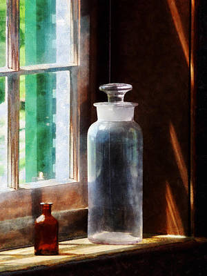 Photograph - Science - Reagent Bottle And Small Brown Bottle by Susan Savad