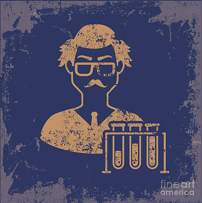 Chemistry Wall Art - Digital Art - Scientist Design On Old Paper by Mamanamsai