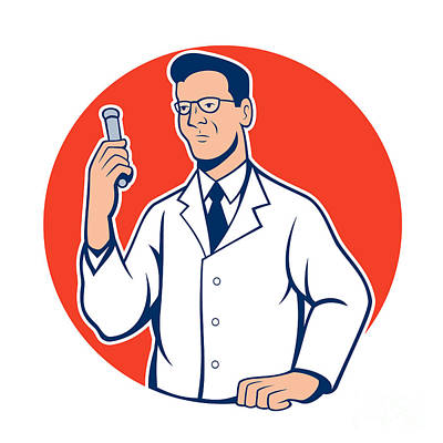 Scientist Lab Researcher Chemist Cartoon Art Print by Aloysius Patrimonio