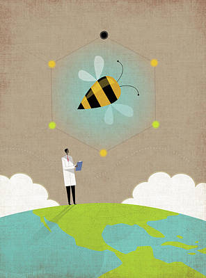 Photograph - Scientist Researching Bees On Top by Ikon Ikon Images