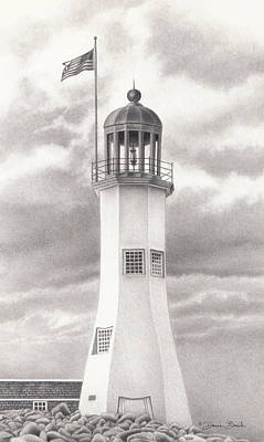 Original featuring the drawing Scituate Light by Donna Basile