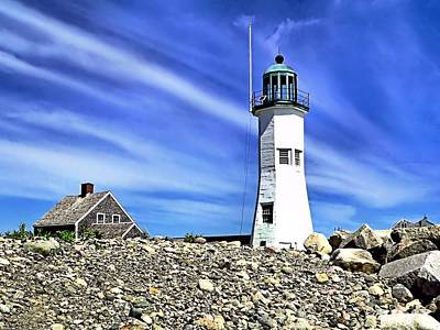Scituate Lighthouse Art Print by Janice Drew