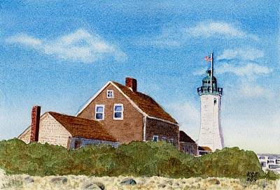 New England Lighthouse Painting - Scituate Lighthouse by Karen Errichetti