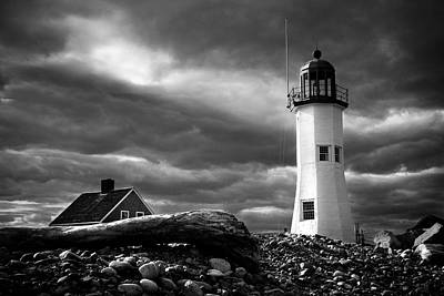 Scituate Lighthouse Under A Stormy Sky Art Print by Jeff Folger