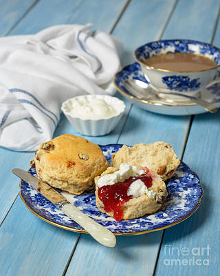Strawberry Jam Photograph - Scones With Jam And Cream by Amanda Elwell