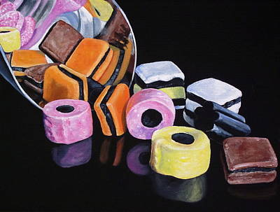 Allsorts Painting - Scoop Of Licorice Allsorts Candy by Lillian  Bell