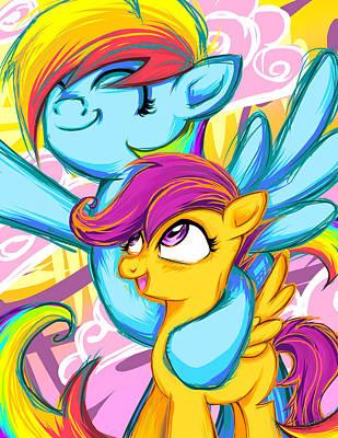 My Little Pony Digital Art - Scootaloo And Rainbow Dash by Sarah Bavar
