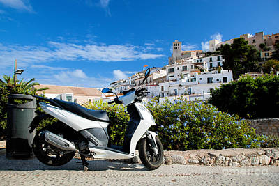 Photograph - Scooter And Panorama Of Ibiza Spain by Michal Bednarek