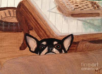 Scooter Peeking Over Couch Print by Michelle Treanor