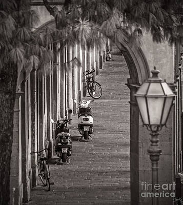 Scooters And Bikes Art Print by Prints of Italy