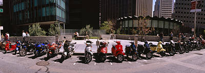In A Row Photograph - Scooters And Motorcycles Parked by Panoramic Images