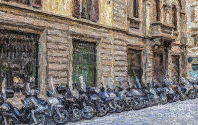 Digital Art - Scooters In A Florence Side Street by Liz Leyden