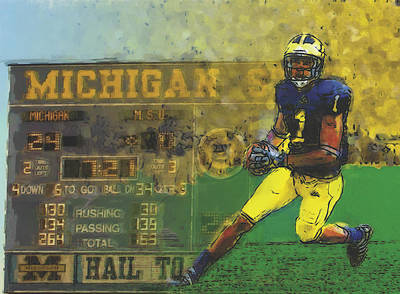 University Of Michigan Painting - Scoreboard Plus by John Farr