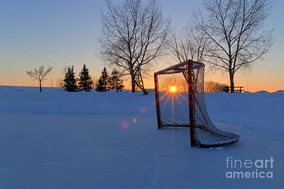 Pond Hockey Photograph - Scoring The Sunset by Darcy Michaelchuk