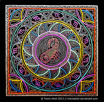 Hypnotic Drawing - Scorpio Mandala by Travis Hunt