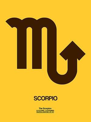 Libra Digital Art - Scorpio Zodiac Sign Brown by Naxart Studio