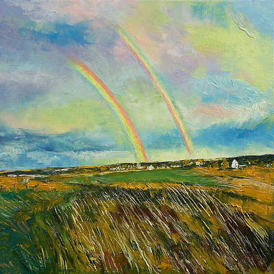 Double Rainbow Painting - Scotland Double Rainbow by Michael Creese