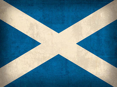 Flag Mixed Media - Scotland Flag Vintage Distressed Finish by Design Turnpike