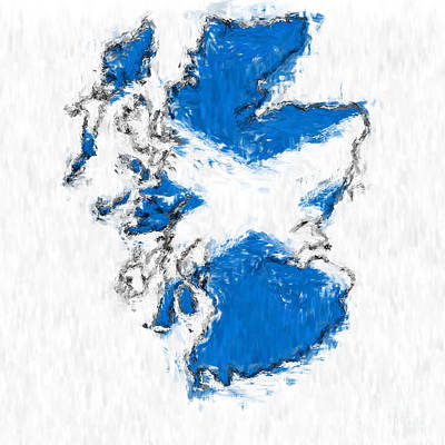 Scotland Painted Flag Map Print by Antony McAulay