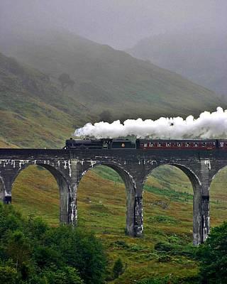Scotland Steam Train And Bridge Art Print