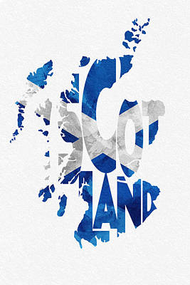 Abstract Map Mixed Media - Scotland Typographic Map Flag by Ayse Deniz