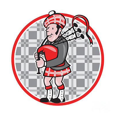 Scotsman Bagpiper Playing Bagpipes Cartoon Art Print by Aloysius Patrimonio
