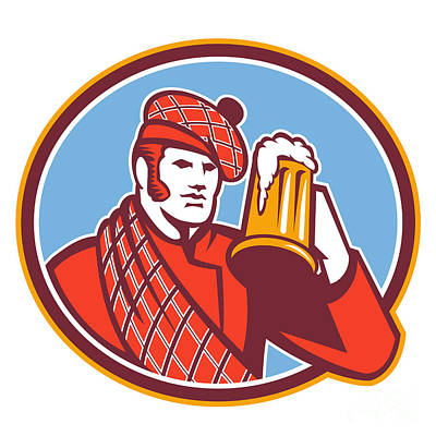 1-war Is Hell Royalty Free Images - Scotsman Beer Drinker Mug Retro Royalty-Free Image by Aloysius Patrimonio