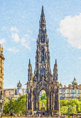 Digital Art - Scott Monument Edinburgh by Liz Leyden