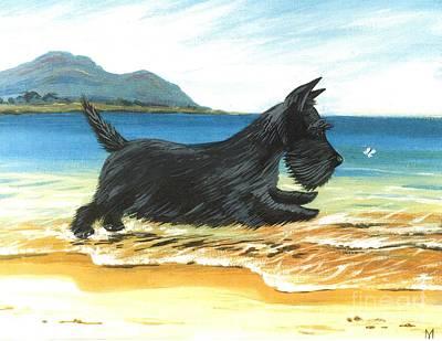 Scottish Terrier Watercolor Painting - Scottie At Play by Margaryta Yermolayeva
