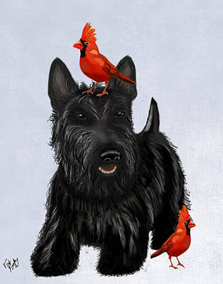 Scottie Dog And Red Birds Art Print by Kelly McLaughlan