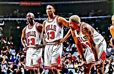 Shooting Wall Art - Painting - Scottie Pippen With Michael Jordan And Dennis Rodman by Florian Rodarte