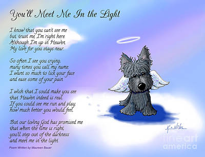 Scotty Drawing - Scottie Terrier Angel And Poem by Kim Niles