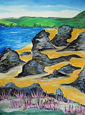Beach Landscape Drawing - Scottish Beach Original by Karen Larter