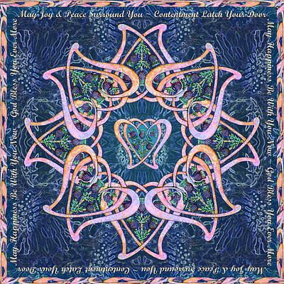Digital Art - Scottish Blessing Celtic Hearts Duvet by Michele Avanti
