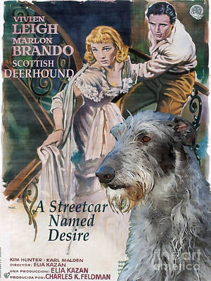 Scottish Dog Painting - Scottish Deerhound Art - A Streetcar Named Desire Movie Poster by Sandra Sij