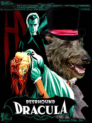 Scottish Dog Painting - Scottish Deerhound Art - Dracula Movie Poster by Sandra Sij