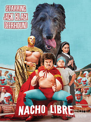 Scottish Dog Painting - Scottish Deerhound Art - Nacho Libre Movie Poster by Sandra Sij