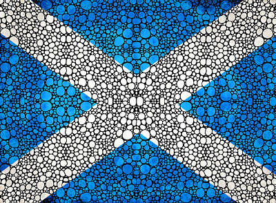 Scottish Flag - Stone Rock'd Scotland Art By Sharon Cummings Art Print by Sharon Cummings