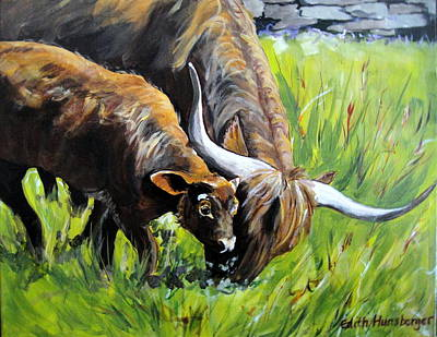 Painting - Scottish Highlands Cattle by Edith Hunsberger