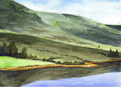 Drawing - Scottish Hills Watercolor Painting by Mike Theuer