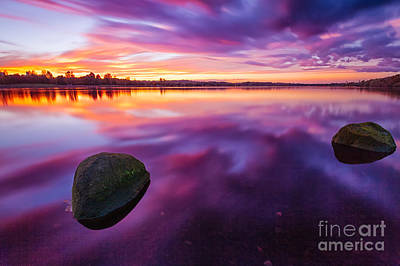 Colour Image Photograph - Scottish Loch At Sunset by John Farnan