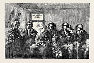 Parish Drawing - Scottish Presbyterians In A Country Parish Church by J. Stirling , British