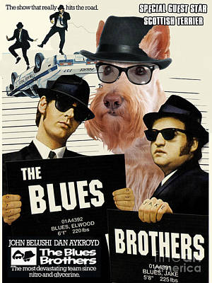 Scottish Dog Painting - Scottish Terrier Art Canvas Print - The Blues Brothers Movie Poster by Sandra Sij