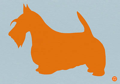 Cute Dog Painting - Scottish Terrier Orange by Naxart Studio