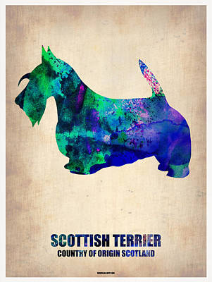 Cute Dog Digital Art - Scottish Terrier Poster by Naxart Studio