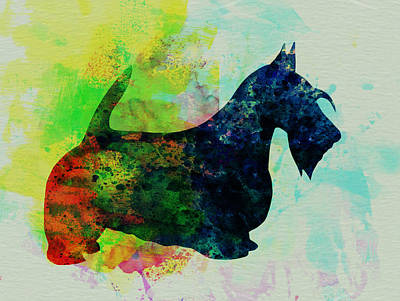 Scottish Dog Painting - Scottish Terrier Watercolor by Naxart Studio