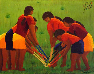 Painting - Scramble Fourth In Stickball Series by Tim Longwell