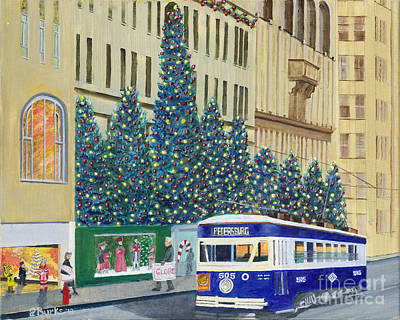 Shop Window Painting - Scranton Christmas Trolley by Austin Burke