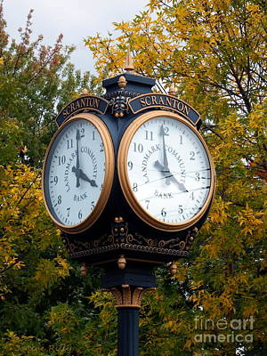 Photograph - Scranton Landmark Street Clock by Janine Riley